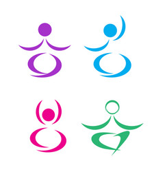 yoga man meditation lotus set icon vector image