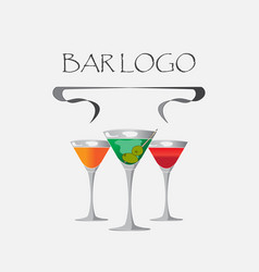 bar logo white vector image
