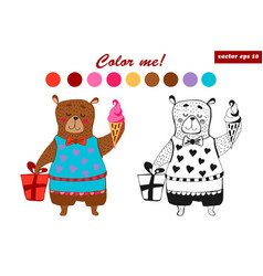coloring book bear vector image