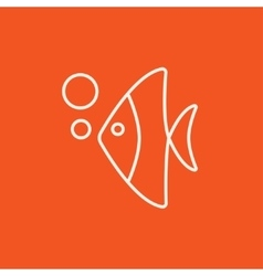 Fish under water line icon vector image vector image
