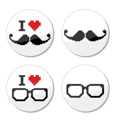 I love glasses and mustache moustache icons set vector image