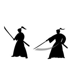 samurai warrior in silhouette style vector image