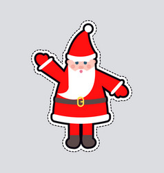 santa claus in red clothes with raised hand toy vector image vector image