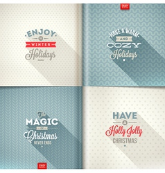 Set of Christmas type design with long shadow vector image vector image