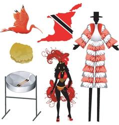 trinidad and tobago icons vector image vector image