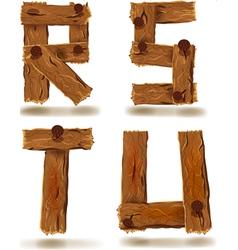 wooden R S T U vector image vector image