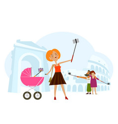 young mother adult couple making selfie in italy vector image