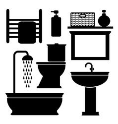 Bathroom toilet black icons set black vector image