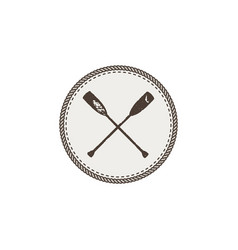 crossed paddles icon patch and sticker vintage vector image