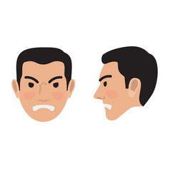angry man face from two sides flat icon vector image vector image