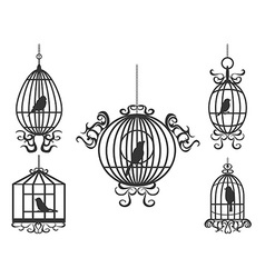 birdcage with birds vector image vector image