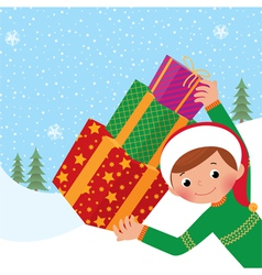 Boy with christmas gift vector image