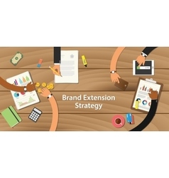 brand extension strategy with team vector image vector image