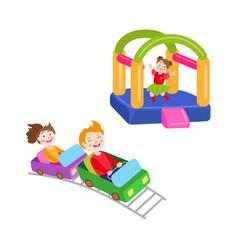 children in amusement park set vector image vector image