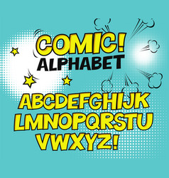 comic retro yellow alphabet halftone background vector image vector image