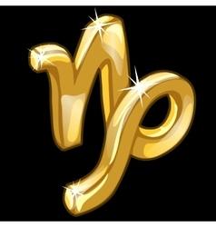 Golden zodiac sign Capricorn on black background vector image vector image