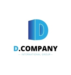 isometric gradient D letter logo Company vector image
