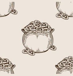 pot of coins seamless pattern engraving vector image