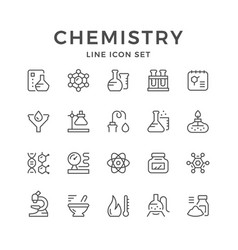 set line icons of chemistry vector image