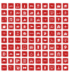 100 private property icons set grunge red vector image vector image