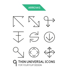 Arrow thin line icon set vector image