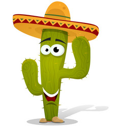 cartoon mexican cactus character vector image
