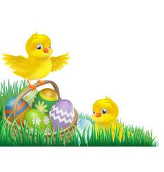easter chicks and egg basket vector image