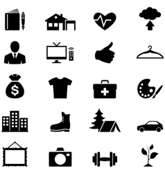 Icons set simple black vector image vector image