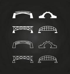 line and outline bridges design on chalkboard vector image vector image
