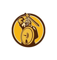 Mongol Horde Barbarian Warrior Sword Circle Retro vector image vector image