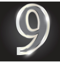 Silver metallic number vector image vector image