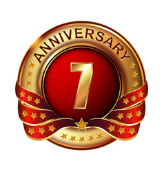 7 anniversary golden label with ribbon vector image