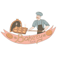 a male baker takes out buns from oven bakery vector image