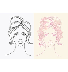 Abstract Beautiful Woman doodle Portrait set vector