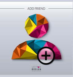 Add friend - social icon in polygon style vector image