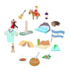 Argentina icons set cartoon style vector