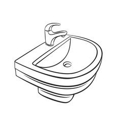 Bathroom sink outline vector