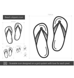 Beach slippers line icon vector
