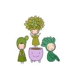 Beautiful succulent in pot Little fairy vector