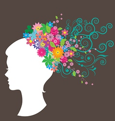 Beautiful woman with hair made of flowers vector image
