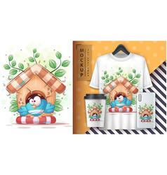 Bird in birdhouse - cute cartoon animal character vector