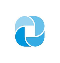 Blue spin letter o design concept vector