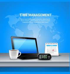 Blue time management realistic composition vector