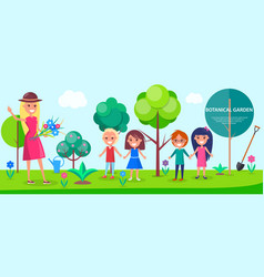 Botanical garden excursion for little children vector
