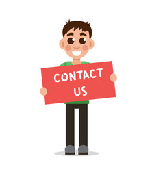 boy holding poster with word contact us vector image