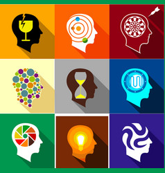 brain activity icons set flat style vector image