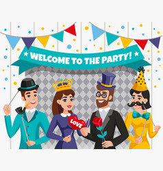 carnival photo booth party people composition vector image