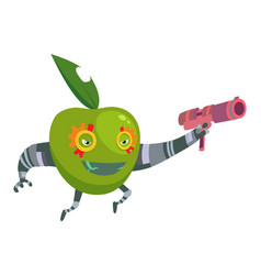 cartoon superhero robot character green apple with vector image