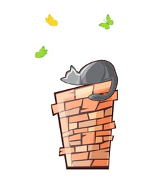 cat on the pipe vector image