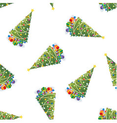 christmas tree and gifts colorful pattern vector image